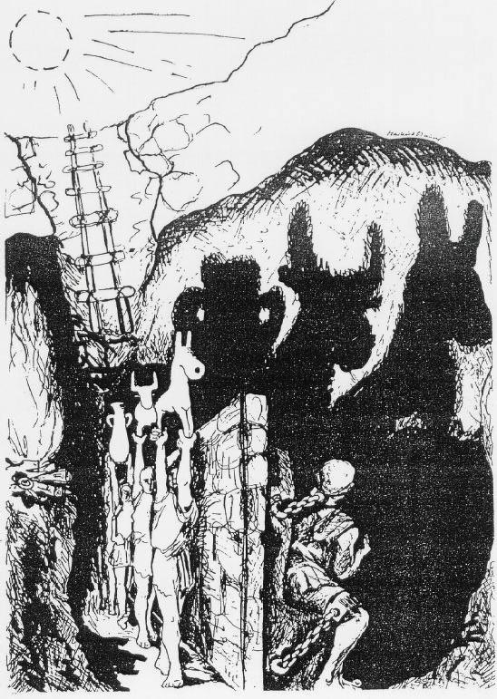 representação do mito da caverna de Platão