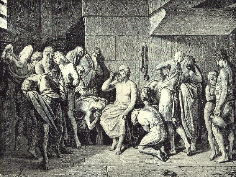 Imagem de Sócrates bebendo a cicuta rodeado de seus alunos e amigos